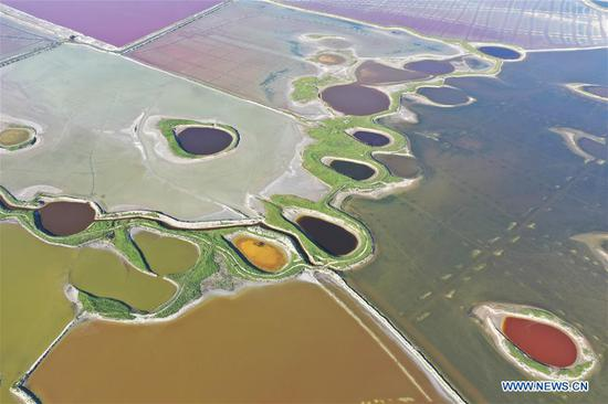 Aerial view of salt lake in Yuncheng, Shanxi